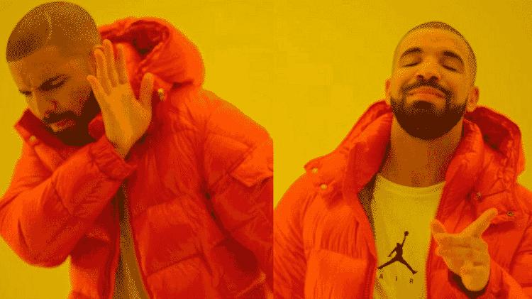 O famoso meme do rapper Drake - Reprodução - Reprodução
