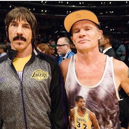 Anthony Kiedis e Flea em jogo do Los Angeles Lakers - Instagram/Reprodução