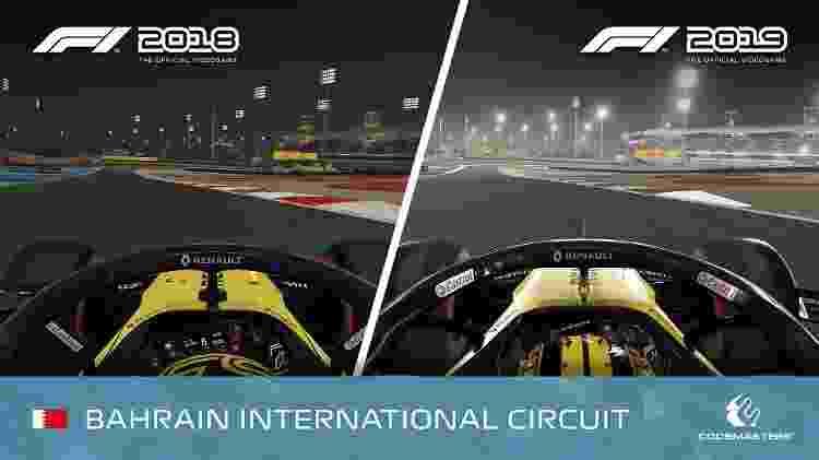 Comparação do circuito de Bahrein nas versões de 2018 e 2019 do jogo - Divulgação