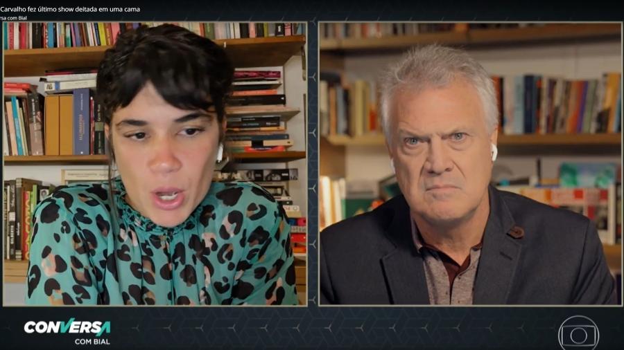 Luana Carvalho dá entrevista a Pedro Bial em programa em homenagem à cantora Beth Carvalho - Reprodução