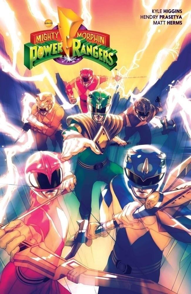 Arte da capa da revista em quadrinhos dos Power Rangers