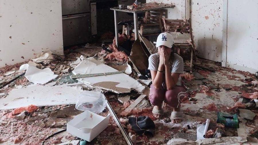 Lorrayne Mavromatis chorou ao ver seu apartamento destruído - Reprodução/Instagram lorraynemavromatis