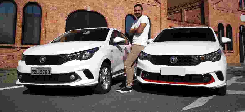 Fiat Argo Drive 1.3 testado por UOL Carros (à esquerda) e Fiat Argo Drive 1.0 de William Mariano - Murilo Góes/UOL