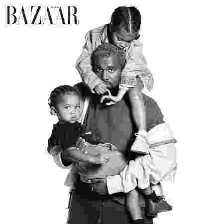 Kanye West com os filhos - Reprodução/Harper's Bazaar - Reprodução/Harper's Bazaar