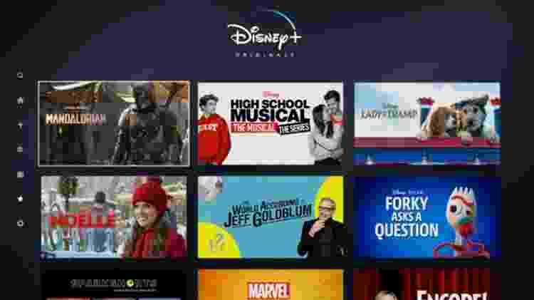 Algumas das produções originais do Disney+: The Mandalorian, High School Musical, A Dama e o Vagabundo, Noelle, The World According Jeff Goldblum e Forky Asks a Question - Divulgação