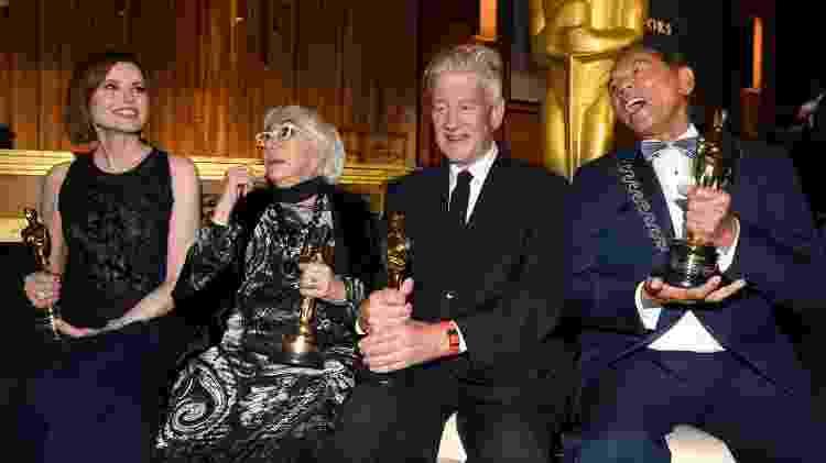 Geena Davis, Lina Wertmüller, David Lynch e Wes Studi com os seus Oscar honorários - Getty Images