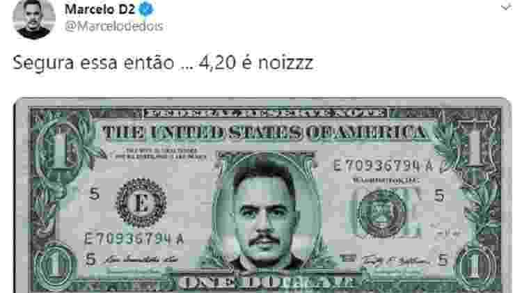 Marcelo D2 brinca com alta do dólar e relaciona ao número símbolo da maconha - Reprodução/Twitter
