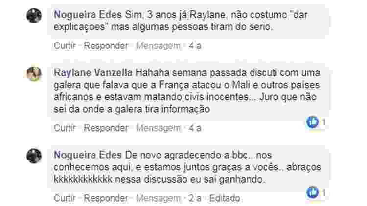 Troca de comentários do casal foi numa reportagem sobre o Mali - Reprodução