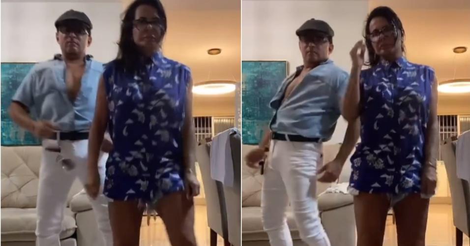 Gretchen e o marido, Esdras de Souza, fazem dança nas redes sociais