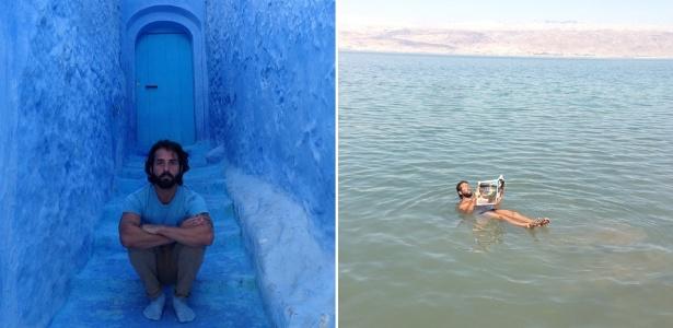 Hermés Galvão durante viagem a Marrocos (à esq.) e no Mar Morto, na Jordândia (à dir.) - Divulgação/Editora Record