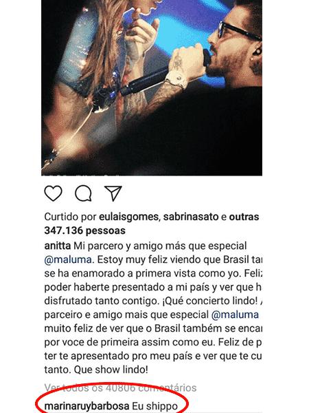 Marina Ruy Barbosa comentou em foto de Anitta com Maluma - Reprodução/Instagram - Reprodução/Instagram