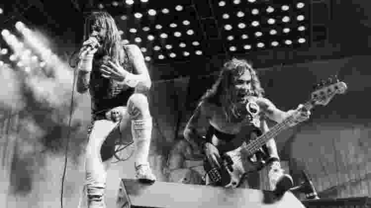 Bruce Dickinson e Steve Harris se apresentam com o Iron Maiden no Rock in Rio de 1985 - Reprodução - Reprodução