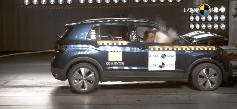 Volkswagen T-Cross passa com 5 estrelas no teste de impacto - Reprodução/Latin NCAP