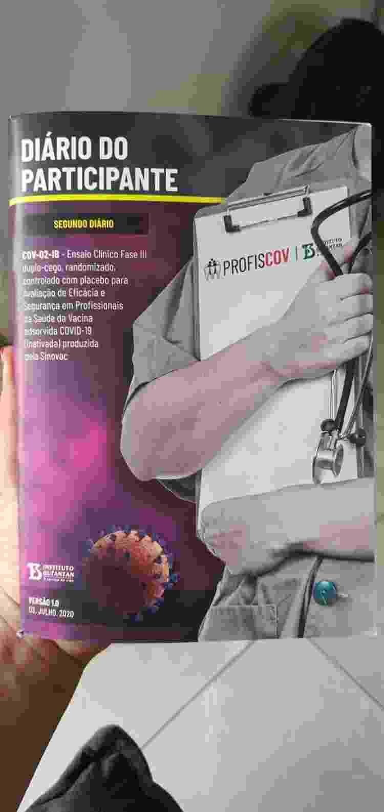 diário do participante dos estudos da CoronaVac - Arquivo pessoal - Arquivo pessoal