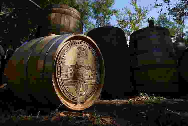 Barris de whiskey produzido na George Washington Distillery - Win McNamee/Getty Images - Win McNamee/Getty Images
