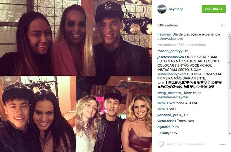 """24.jul.2015 - Neymar e a irmã, Rafaella Santos, gravam participação especial em """"A Regra do Jogo"""", nova novela das nove da Globo"""