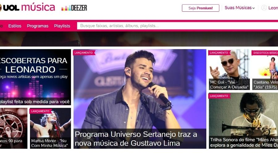 UOL Música Deezer, parceria do UOL com a plataforma de streaming Deezer - Reprodução