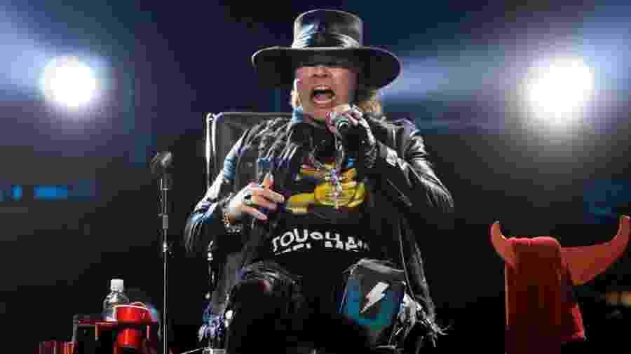 AC/DC se apresenta pela primeira vez com Axl Rose em show na cidade de Lisboa, Portugal - AFP