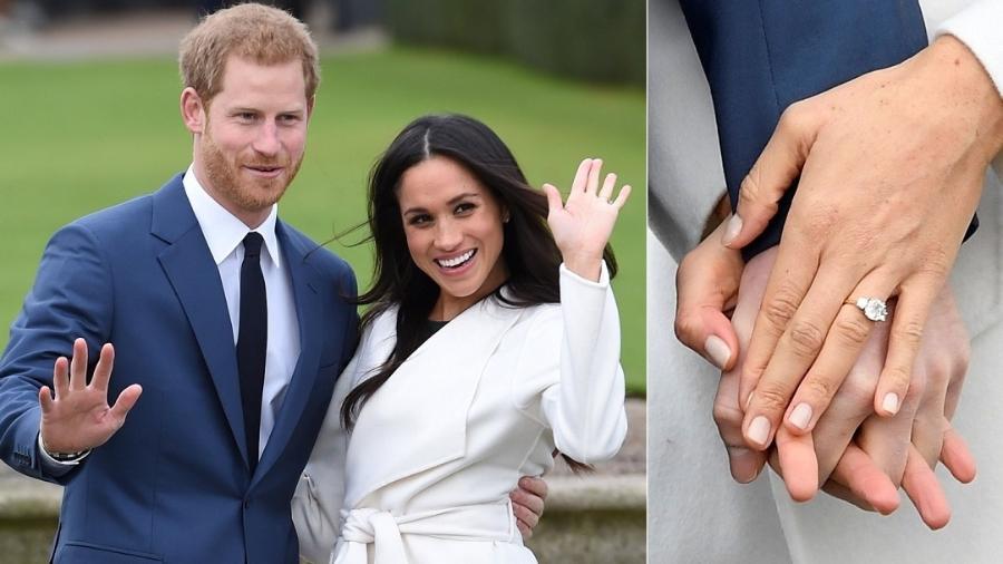 Príncipe Harry faz primeira aparição pública com a noiva, a atriz Meghan Markle; à direita, anel feto com diamantes da princesa Diana - Montagem/Eddie Mulholland/Reuters