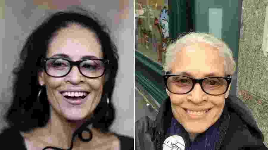 Sônia Braga antes e depois de assumir os fios brancos - Alexandre Meneghini/Reuters // Reprodução/Facebook