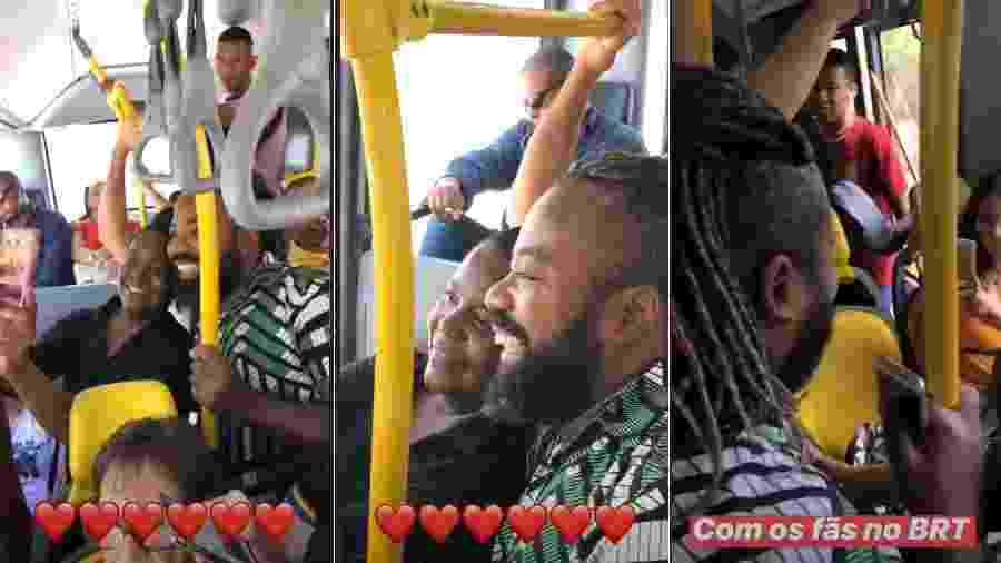 Rodrigo com fãs no BRT - Reprodução/Instagram