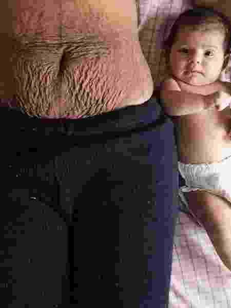 A barriga de Amanda e Nádia, sua filha: transformações que a maternidade trouxe e nova forma de ver o corpo - Arquivo Pessoal