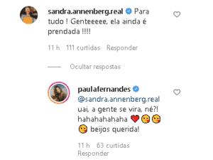 Sandra Annenberg comenta foto de Paula Fernandes - Reprodução/Instagram - Reprodução/Instagram