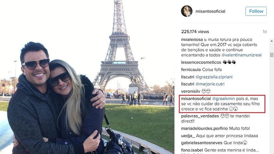 Mirella e o marido, Ceará, em Paris; à direita, a resposta dela a uma seguidora que a criticou por deixar a filha no Brasil - Montagem/Fotos Reprodução/Instagram
