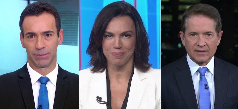 César Tralli, Ana Paula Araújo e Carlos Tramontina: os substitutos do jornalismo da Globo - Montagem/Reprodução/TV Globo