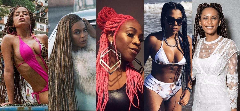 """Anitta, Beyoncé, Karol Conka, Ludmilla e Taís Araújo são algumas das celebridades que já desfilaram por aí com """"box braids"""" - Reprodução"""