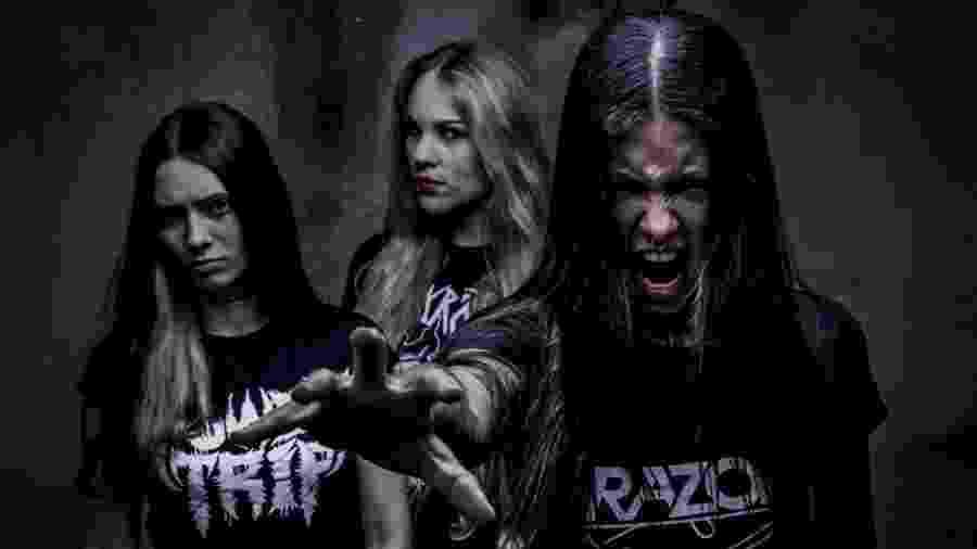 Trio de thrash metal Nervosa conta com Luana, Prika e Fernanda (da esquerda para a direita) - Renan Facciolo/Divulgação