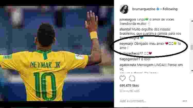 Neymar responde a post de Bruna Marquezine - Reprodução/Instagram/brumarquezine - Reprodução/Instagram/brumarquezine