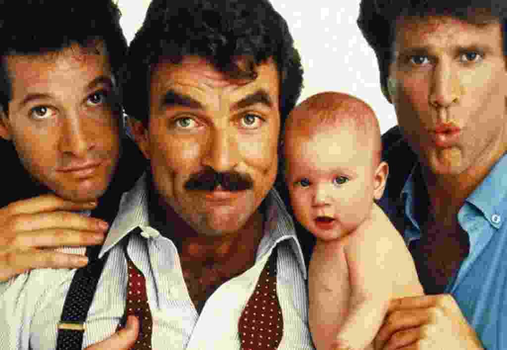 """Steve Guttenberg, Tom Selleck e Ted Danson em """"Três Solteirões e um Bebê"""" (1987) - Reprodução"""