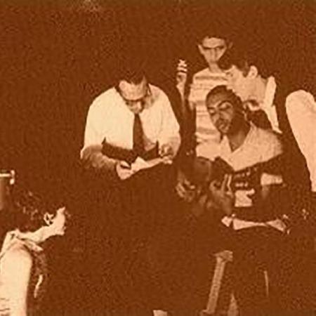 Em um dos ensaios, da esq. para a dir.: Djalma Corrêa, Gal Costa, Fernando Lona, Caetano Veloso, Gilberto Gil e Perna Fróes  - Orlando Senna