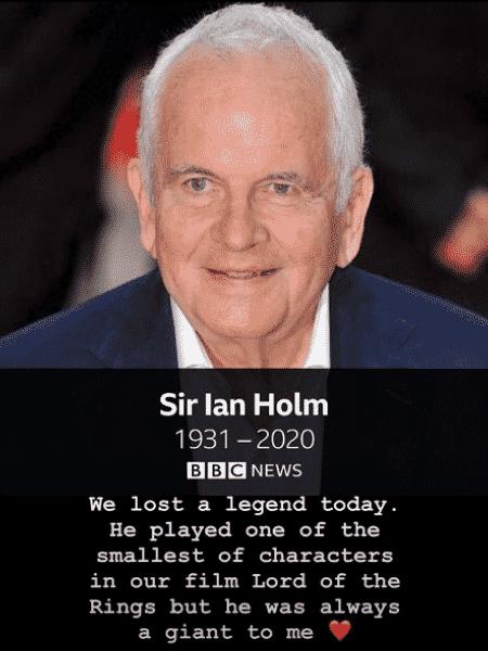 Orlando Bloom homenageia Ian Holm, colega de 'O Senhor dos Anéis' - Reprodução/Instagram - Reprodução/Instagram