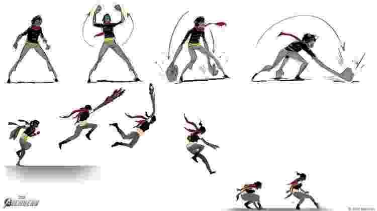 Habilidades Kamala esboço game Vingadores - Divulgação/Square Enix - Divulgação/Square Enix