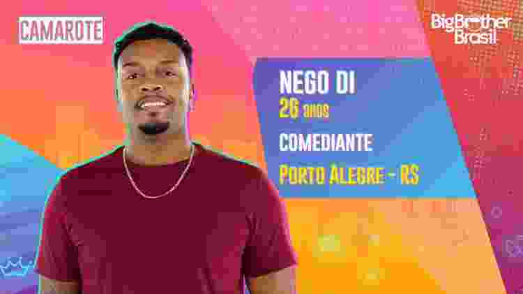 Nego Di no BBB 21 - Divulgação - Divulgação