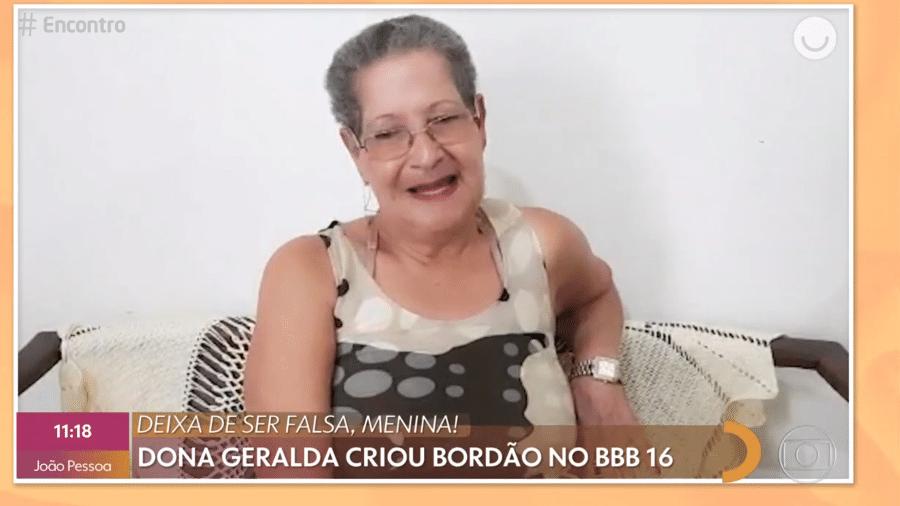 """Dona Geralda aparece no """"Encontro com Fátima Bernardes"""" para reviver meme - Reprodução/Globoplay"""
