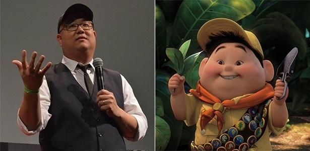 """Peter Sohn, diretor de """"O Bom Dinossauro"""", e o personagem Russell, de """"Up"""" - Divulgação/Montagem UOL"""