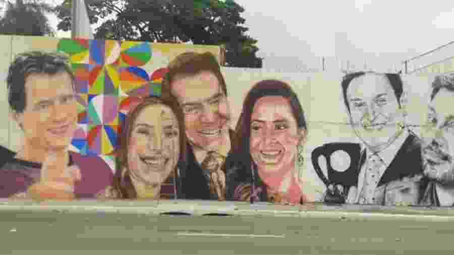 Muralistas pintam artistas do SBT na marginal Pinheiros, em São Paulo - Reprodução/Instagram/pauloterraartes