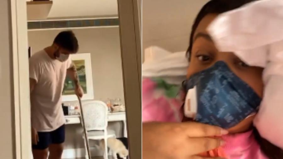Preta Gil mostra Rodrigo Godoy limpando o chão - Reprodução/Instagram