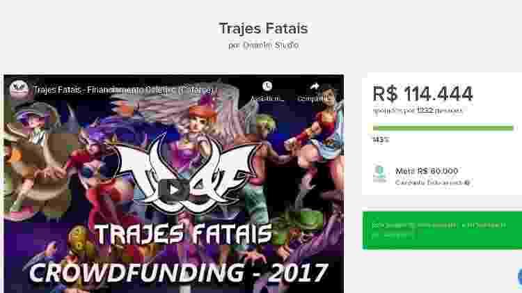 Campanha de financiamento do game Trajes Fatais - Reprodução/START - Reprodução/START