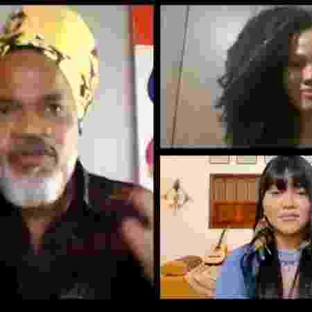 Carlinhos Brown, Alissan e Thaline Karajá (The Voice Brasil) - Reprodução da TV - Reprodução da TV