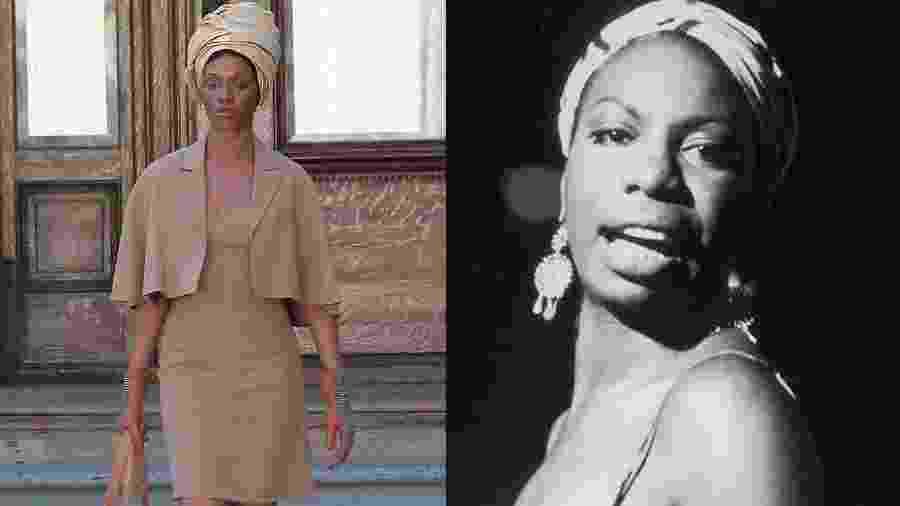 """Zoe Saldana (esq.) em imagem do filme """"Nina"""", cinebiografia da cantora Nina Simone (dir.) - Grosby Group/Getty Images"""