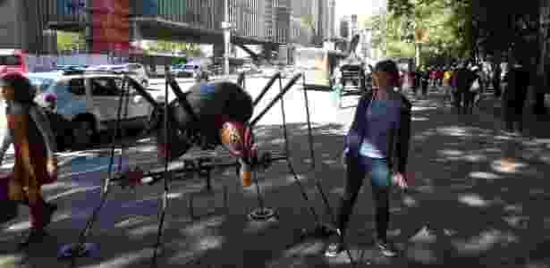 A australiana Khara Shaw posou ao lado de réplica de mosquito na Paulista - Arquivo pessoal - Arquivo pessoal