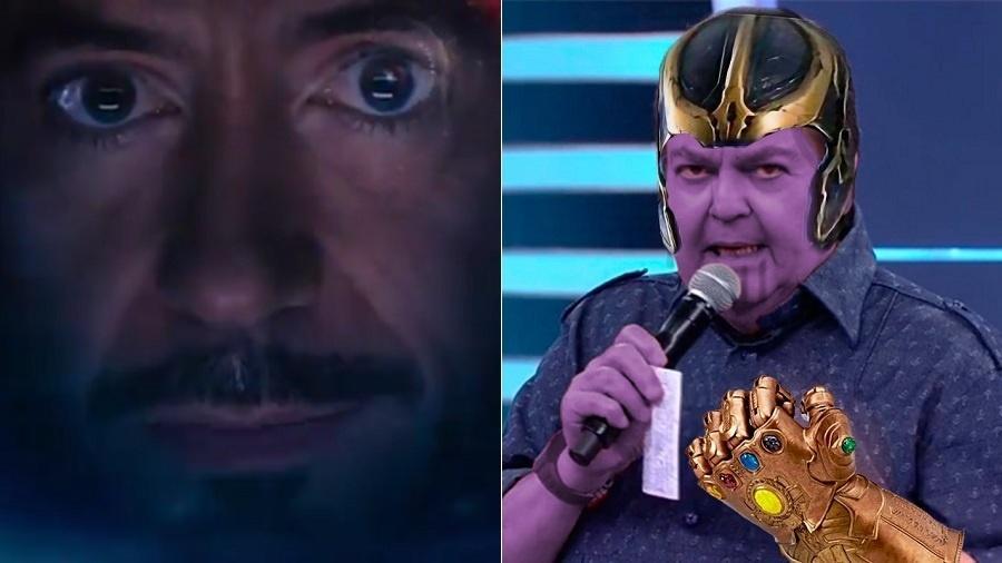 """Tony Stark, o Homem de Ferro, e """"Fausthanos"""", meme unindo Faustão e Thanos - Montagem/UOL/Reprodução/TV Globo/Twitter/William_Castro"""