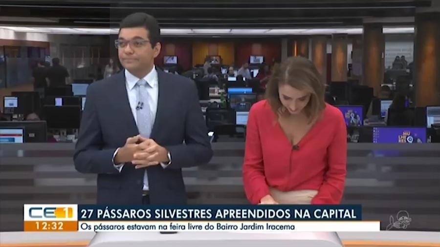 """Luiz Esteves e Patrícia Nielsen, apresentadores do """"CETV 1ª Edição"""", telejornal da TV Verdes Mares, afiliada da Globo no Ceará - Reprodução/TV Verdes Mares"""