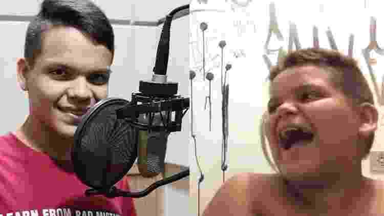 Riad, o MC Risadinha em dois momentos: Em foto atual e quando viralizou no Youtube por causa de sua risada - Reprodução