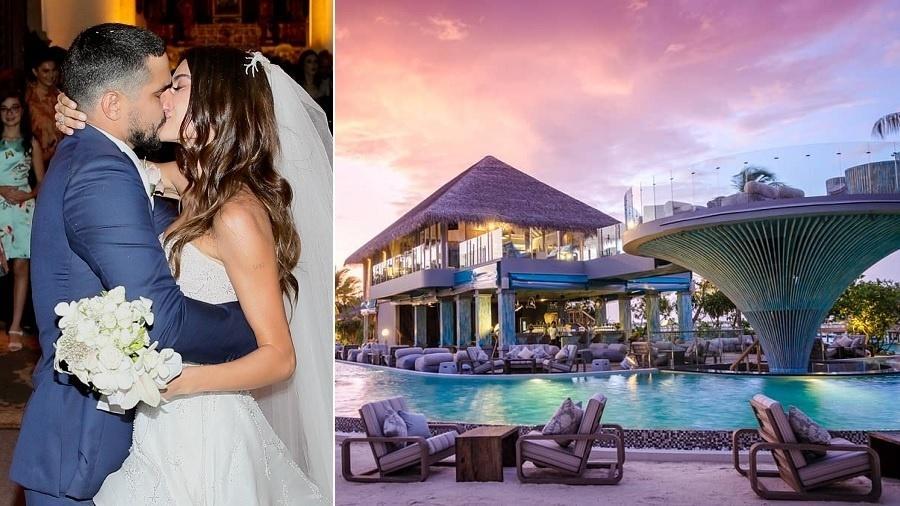 Renato Góes e Thaila Ayala passam lua de mel em resort de luxo nas Maldivas - Montagem/UOL/Manuela Scarpa e Iwi Onodera/Brazil News/Reprodução/finolhu_maldives