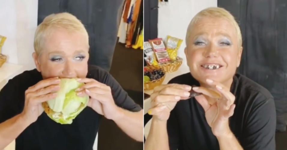 Xuxa saboreia um sanduíche de alface e um brownie de sobremesa